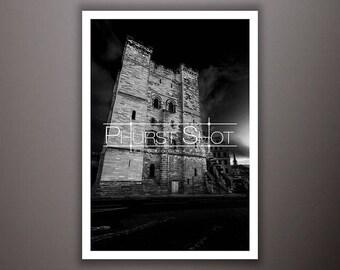 Castle Keep black white print, urban cityscape photography shot, newcastle image, fine art photo,