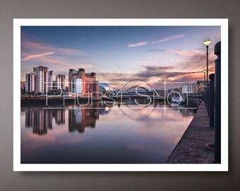 Cityscape print, Newcastle Quayside photo, river reflection, Landscape print, Fine art photography, Sunset Prints, water reflections