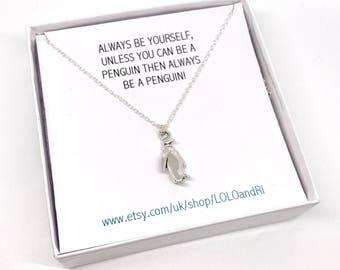 Sterling Silver Penguin Necklace, Dainty Silver Winter Necklace, Christmas Necklace, Animal Charm Necklace, Christmas Gift, Stocking filler