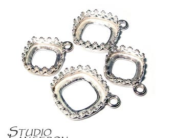 925 Sterling Silver Bezel Cups for cabochon cushion size 10.0 and 12.0 mm, Bezel cups, Silver bezel cups, 925 Sterling silver - 1 piece