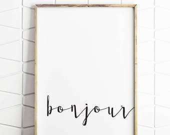 french country decor, french sytle sign, provincial art, provincial french, bonjour sign, bonjour decor, instant download