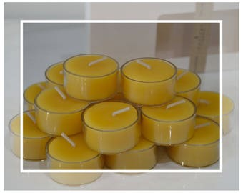 Pure Organic Australian Beeswax Tealight Candles (Tealights)