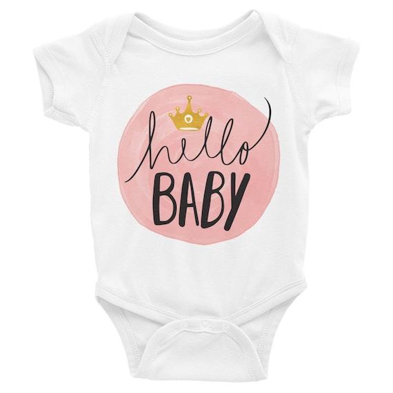 Hello baby, hello onesie, baby onesie, hello, newborn onesie, hello world onesie, infant onesie, newborn outfit, newborn gift, custom onesie