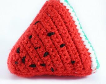 Crocheted Watermelon Slice Play Food - Educational Toys- Learning Games – Preschool – Nursery – Toddler – Childrens – Teething – Learning -