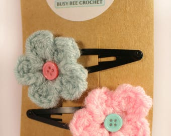 Crochet hairclips - Flower clips - hair slides - Hair accessories - childrens accessories - girls clips - knitted hair clips