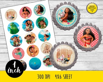 COD183-50% OFF SALE Moana Bottlecap-1 inch Bottlecap-Printable Image-Moana collage sheet-Princess bottlecap-Disney bottlecap-Moana 1 inch