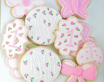 Custom Pink and White Flower Cookies with Monogram