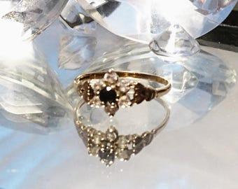 Pretty vintage 9ct gold stone set flower cluster ring, vintage 9 karat gold flower ring