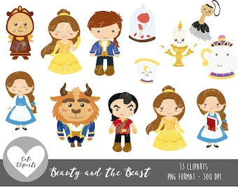 COD10 50 OFF SALE Beauty And The Beast Clipart Digital Clip Art