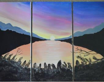 Sunset on water orignal acrylic painting
