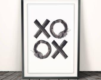 XO Print, XoXo, Xo Art, Hugs And Kisses, Xo Wall Art, Printable Typography, quote prints, Watercolor Print, love gifts