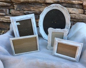 White vintage picture frames, antique picture frame set, shabby chic frames, french provincial, white ans gold