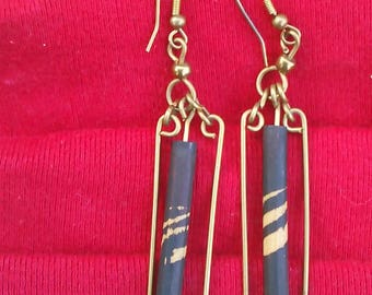 Brass and bamboo Earrings