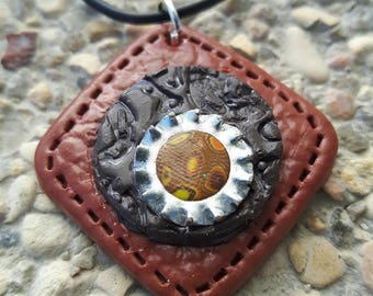 Brown and black diamond in polymer clay steampunk necklace