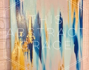 SOLD! Abstract Acrylic Art / Gold Leaf Art / Blue, Mint Green & Gold Large Canvas Art