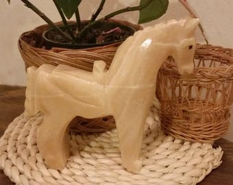 Large vintage mid-century hand carved yellow soapstone pony figurine statue
