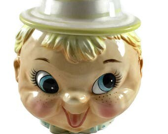 Vintage Lefton Boy Cookie Jar, Vintage Japan Cookie Jar, Vintage Cookie Jar, Little Boy Cookie Jar, Vintage Decor, Mid Century Kitchen