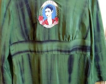 SillySausageStudios Frida Kahlo appliqued green silk tunic top - Ooak - Preloved to Reloved - Medium