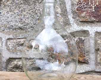 Large Vintage French Clear Glass Carboy or bottle. Demijohn Dame Jeanne Excellent Condition. Holds 5 litres. Raindrop or Teardrop. Demijohn