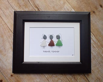 Sea glass art picture friends forever / Three friends gift idea / Gift for best friend / Gift for bestie / Best friend moving away gift