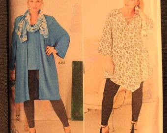Simplicity 8097   Plus Size Womens Tunic or Top, Kimono, Scarf and Knit Leggings in Size 26W - 32W
