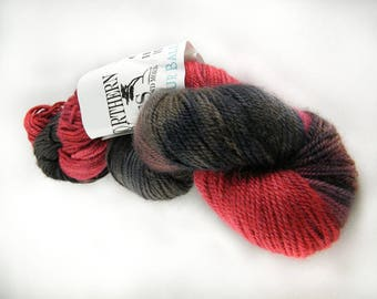 15% Silk - DK Weight - Red & Charcoal Grey - 75 Percent Polwarth Wool - Handpainted - Spring Speckles - 296 yards - 100g - #476
