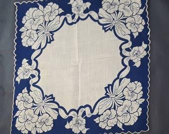 5 Dollars Free Ship U.S. Beautiful Blue and White Floral Ladies Vintage Hankie
