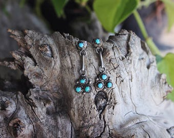 Vintage Native American Zuni style turquoise earrings