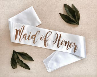 Maid of Honor Sash, glitter sash, bachelorette party sash, bridal party sash, hen party sashes, wedding party