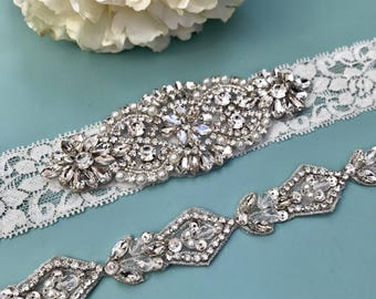 Wedding garter set, Elegent antique ivory Wedding Garter Set NO SLIP grip vintage rhinestones bridal garter