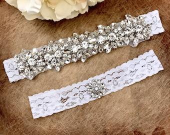 Wedding Garter set, NO SLIP grip Lace Wedding Garter Set, bridal garter set, vintage rhinestones, pearl and rhinestone gar
