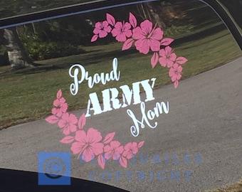 PROUD Army/ Navy / Marine / Air force MOM Vinyl window decal