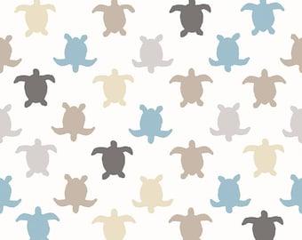 Tissu TORTUES HERMANN - Turtle fabric - tissu bleu et taupe sur fond ivoire - Tissu coton oeko tex - 1/2 mètre - Tissu Français