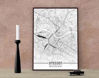 Dresden-Just a map-din A4/A3-Print