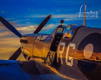 Spitfire Sunset Aircraft Digital Download. Professionally shot limited edition Image. Aviation Photography, Vintage Aircraft, Warbird