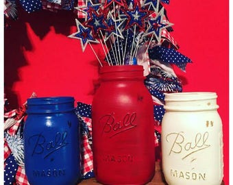 Mason Jars, Americana Jars, 4th of July, Independance Day, Outdoor Decor, Red White Blue