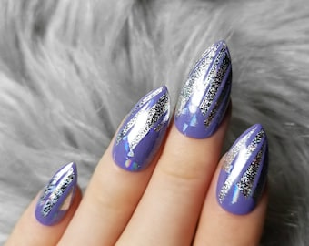 10/20 press on nails medium stiletto holographic hand painted