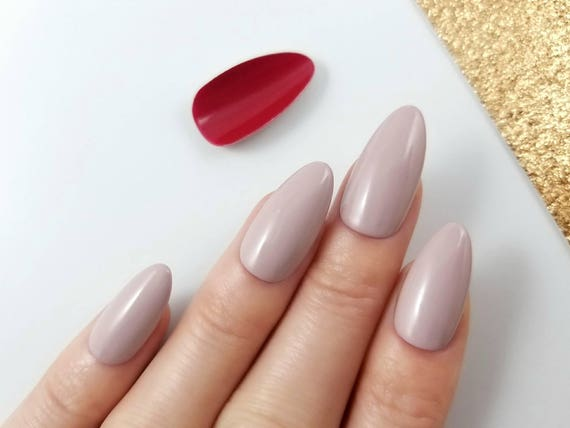Red Bottom Press On Nails Nude Nails Ash Rose Reusable-5573