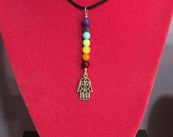 Chakra Beads with Hamsa Charm on Black Necklace