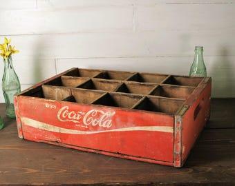 Vintage Red Coca Cola Crate, Coke Crate,  12 slot, wooden crate, wood and metal vintage crate, Good condition