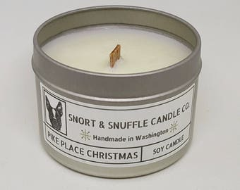 Pike Place Christmas- 4OZ- Scented Candle- Wood Wick Candle- Soy Candle- Seattle- Washington- PNW- Hiking- Hiking Gift- Christmas Candle