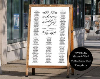 Wedding Seating Chart Sign, Editable Template, Wedding Seating Chart Poster, Alphabetical Seating Chart, MSW162