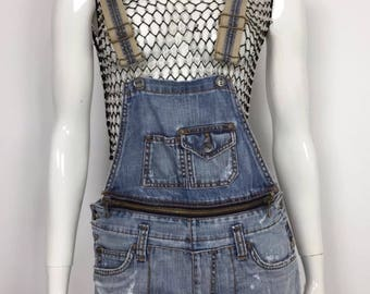 Sexy woman jeans shorts blue dungrees overalls overals einstein M tg40 T2144
