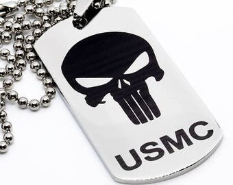 Dog Tag, Military Style Dog Tag, Stainless Steel Dog Tag, Jewelry Dog Tag, Personalized Dog Tag, Military Style Jewelry, USMC Punisher