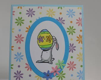 Happy Easter card, Easter Bunny with Egg card, Easter Bunny card, Easter Egg card