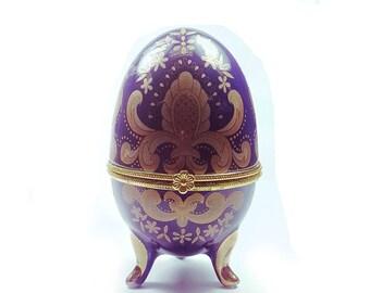 Vintage Faberge Style Porcelain Egg Trinket Box