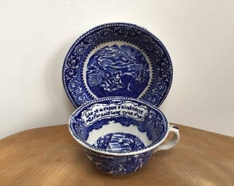 Vintage Very Large Tea Cup and Saucer - Flow Blue & White, Auld Lang Syne , British Anchor Pottery, England
