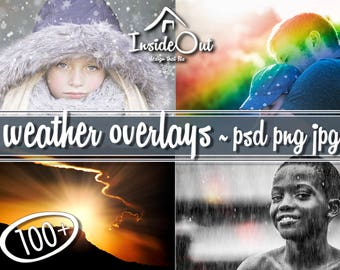 Weather Overlay Sun Snow Rain Spring Photoshop Backdrops Effect Light Fog Summer Winter Autumn PSD Photo Photography Big Pack JPEG