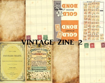 Vintage Zine 2, Folded Booklet, Junk Journal, Digital Zine, Mini Zine Collage, Coffee Stained Ephemera