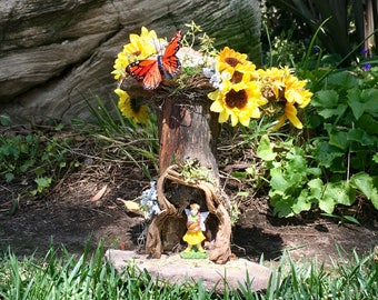 Sunflower Fairy Home, Summer Fairy House, Fairy with House, Yellow Fairy House, Faerie House, Fairy Gardening, Handmade, Miniature House
